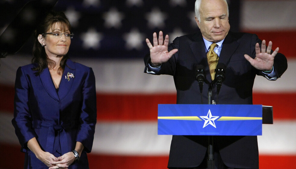 IKKE FARVEL: Sarah Palin ble valgt som visepresidentkandidat for daværende republikansk presidentkandidat John McCain i 2008. Da han døde 2018, var hun ikke velkommen i begravelsen. Foto: REUTERS/Mike Blake