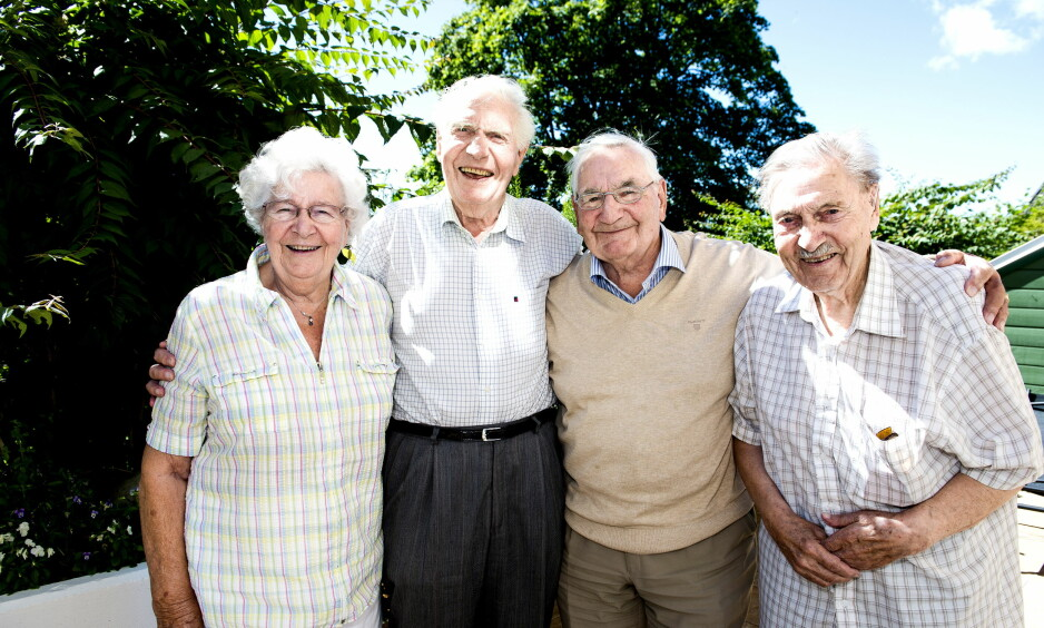 ROALD DAHLS TREMENNINGER: Fra venstre: Ragnhild Dahlen (84), Reidar Huth (87), Arne Huth (90) og Bjarne Robert Huth (92). Foto: John Terje Pedersen / Dagbladet