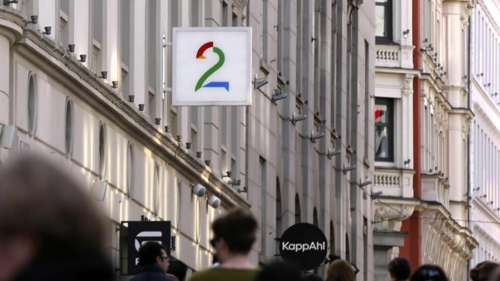 NY STRATEGIPLAN:  TV 2-ledelsen skal presentere en ny strategiplan som trolig innebærer store kutt. På bildet TV 2s kontor i Oslo.  Logo Tv2 Karl Johan i Oslo Foto: Vidar Ruud / NTB scanpix
