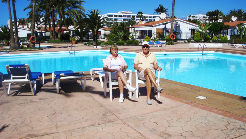 HALVE ÅRET: Olav (68) og Astri (67) Egge tilbringer halve året på Gran Canaria. Foto: PRIVAT