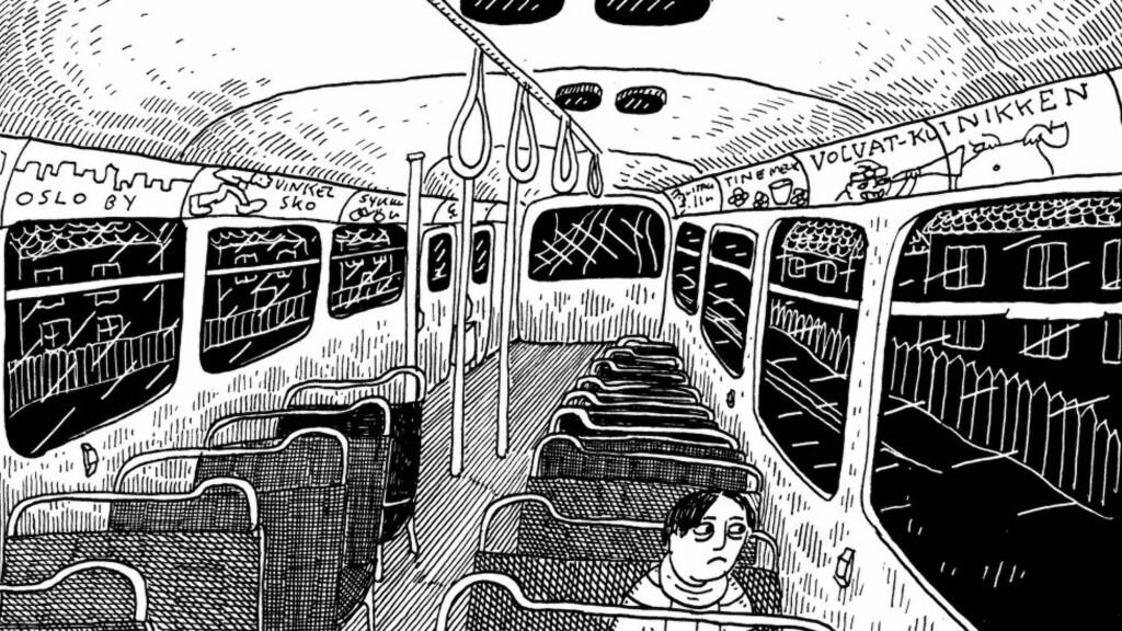 FØRSTE ROMAN: Anders N. Kvammen (1985) er velkjent innenfor tegneserie- og illustrasjonsmiljøet, men dette er hans første tegneserieroman. Illustrasjon fra boka