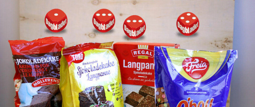 TEST KAKEMIKS: Kan det bli enklere enn langpannekake? Ja, langpannekake på pose. Foto: Kristin Sørdal