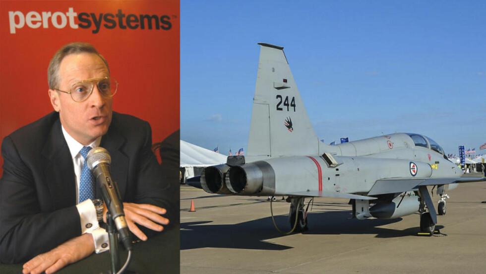 KJØPTE: Forretningsmannen Ross Perot jr. kjøpte to F-5 jagerfly av Forsvaret i 2014, men har forhandlet med Norge siden tidlig på 2000 om kjøp av de utrangerte flyene. Her er ett av de flyene han kjøpte på et flystevne i Fort Worth i Texas, USA. Foto: Scanpix og Dave Chng/airwingspotter.com