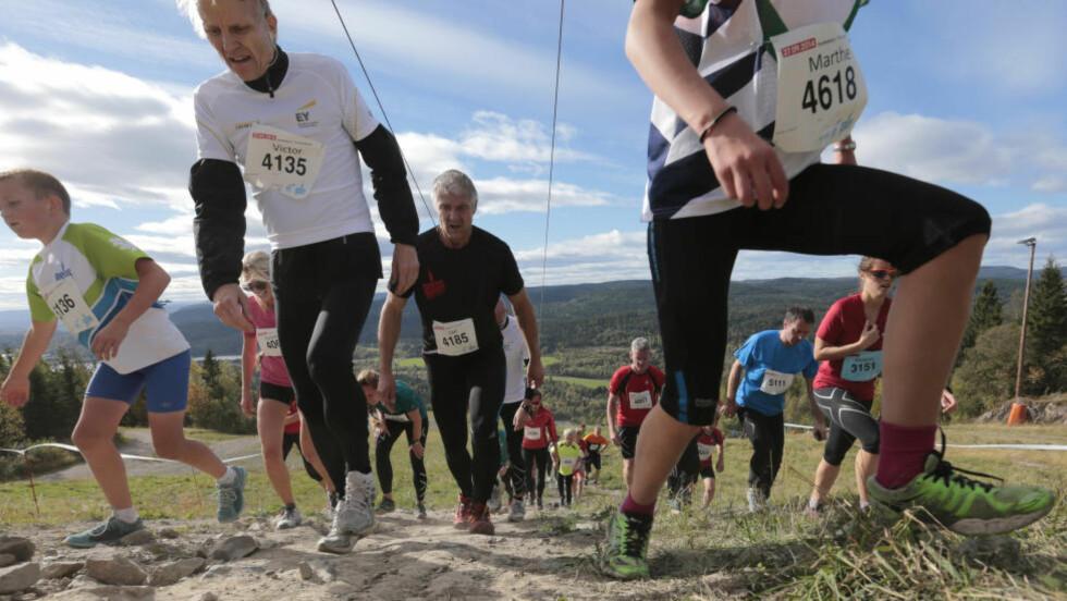 """HARDE TAK: Bilde ra motbakkeløpet """"Oslos bratteste"""" i 2014.  Foto: Lise Åserud / NTB scanpix"""