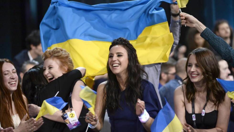 VANT:  Ukrainske Jamala vant årets Eurovision Song Contest i Ericsson Globe Arena i Stockholm, 14. mai. FOTO: EPA/MAJA SUSLIN SWEDEN OUT