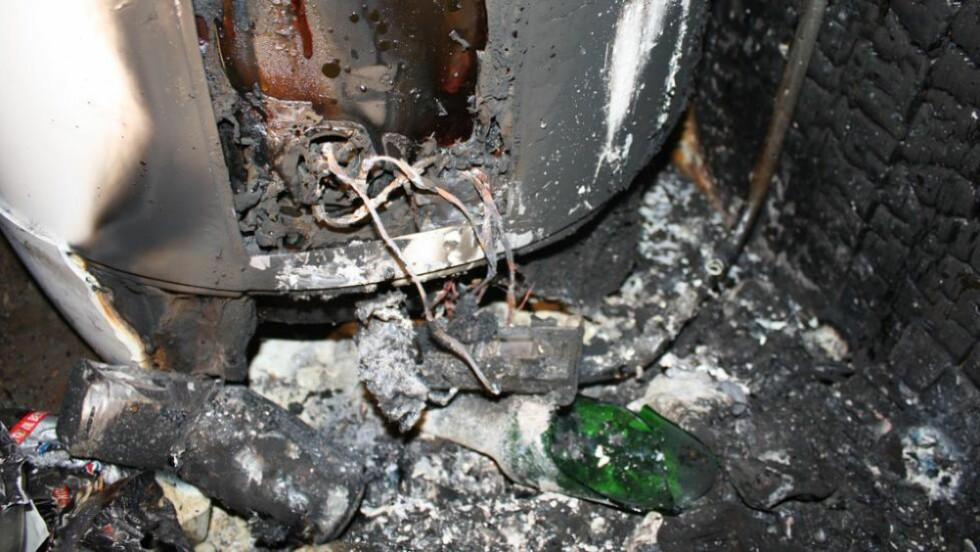 BRANN:  Varmegang i tilkoblingspunktet på en varmtvannsbereder fra OSO har ført til flere branner, blant annet i Rauland i Telemark. Til alt hell var ingen hjemme da  brannen brøt ut. FOTO: Politiet