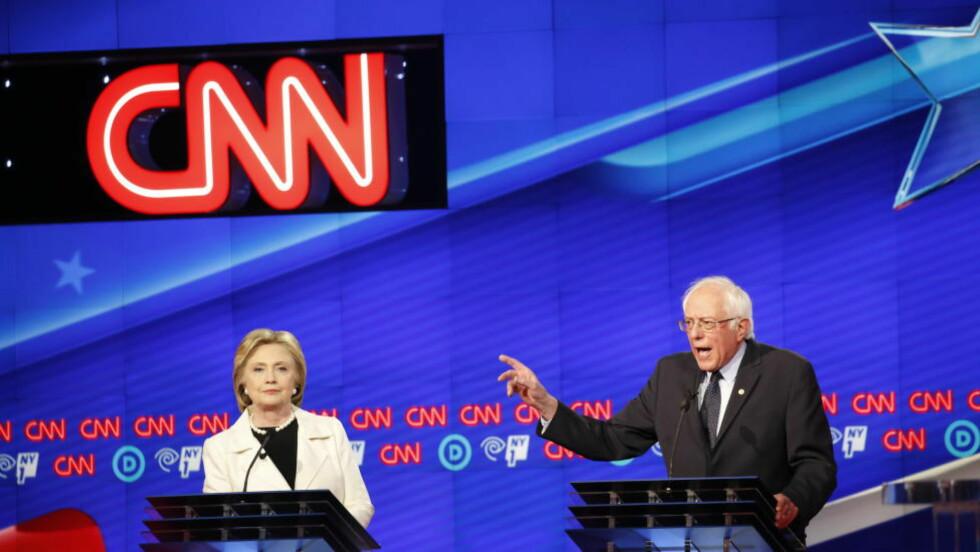 DAGBLAD-SAMARBEID: Dagbladet har inngått en avtale med CNN International Commercial, et av verdens største nyhetsselskap, som gir Dagbladet tilgang til CNN-innhold - og omvendt. Her fra CNNs valgdebatt-sending med demokratene Hillary Clinton og Bernie Sanders. Foto: NTB Scanpix