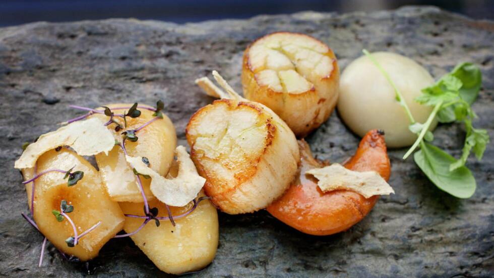 DELIKATESSE: Stekte kamskjell med pæretilbehør, det vil si tørket pære, pærepure og karamellisert pære, er en nydelig forrett som er enkel å lage. Foto: METTE MØLLER