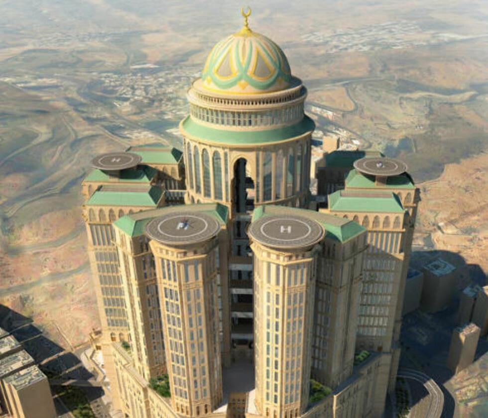 DET NESTE STORE: Allerede i 2017 åpner hotellet Abraj Kudai i Mekka i Saudi-Arabia med sine 10 000 rom, fire helikopterlandingsplasser og 70 restauranter. Det vil da ta over tronen som verdens største hotell. Illustrasjon: DAR AL-HANDASAH