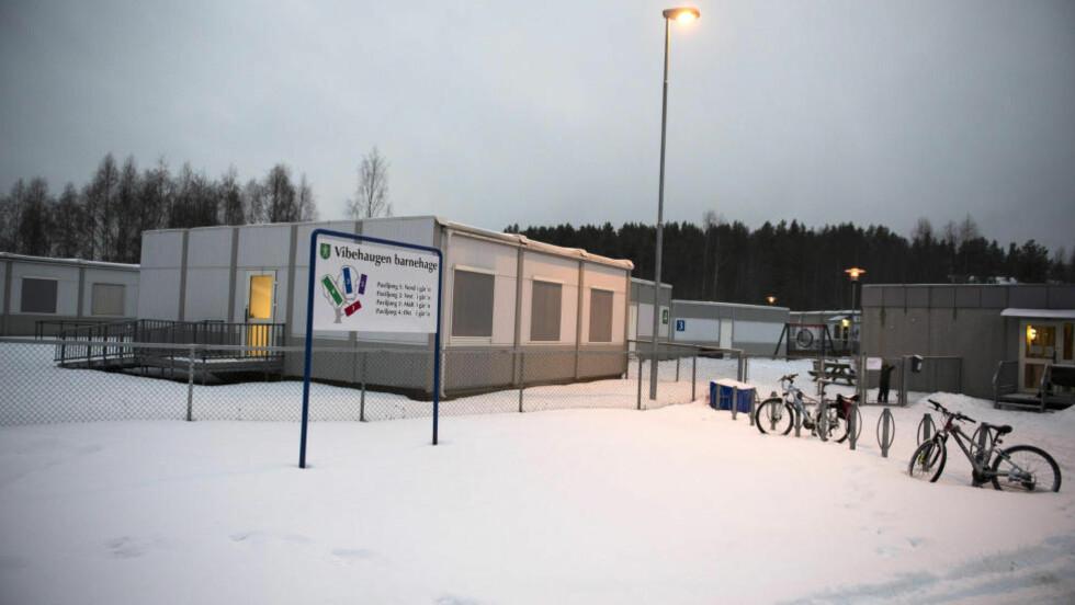ANSATTE EKS-POLITIMANN: Det nye asylmottaket på Raumyr i Kongsberg har skapt reaksjoner i lokalbefolkningen. Vibehaugen barnehage, som er nærmeste nabo til mottaket, har ansatt en pensjonert politimann for å passe på barna. Foto: Arne V. Hoem / Dagbladet