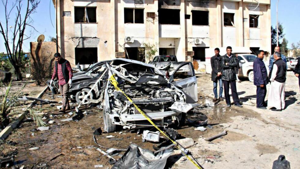 SELVMORDSANGREP: I forrige måned utførte IS et selvmordsangrep som drepte over seksti mennesker på et politiakademi i den vestlige byen Zliten, uten tvil det dødeligste angrepet i Libya siden 2011. Foto: NTB Scanpix.
