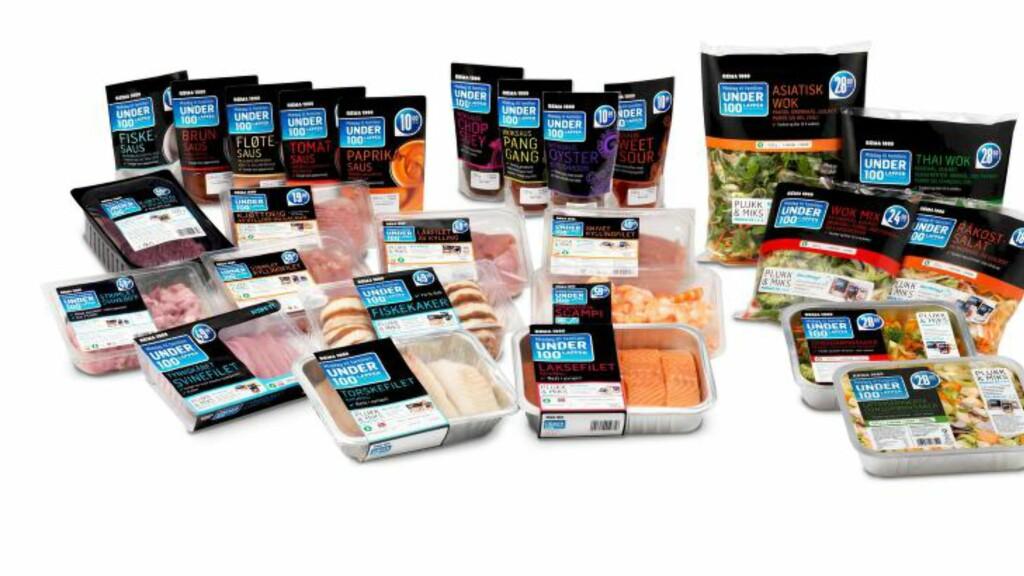 MIDDAG TIL 100 KRONER: Plukk og miks blant ulike proteiner, sauser og grønnsaksblandinger på Rema 1000. Disse er allerede lansert i enkelte butikker. Foto: REMA 1000