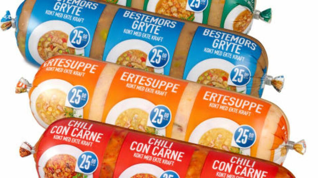 MIDDAG PÅ PØLSE: Gryter og supper i praktisk innpakning med lite emballasje. Foto: Rema 1000
