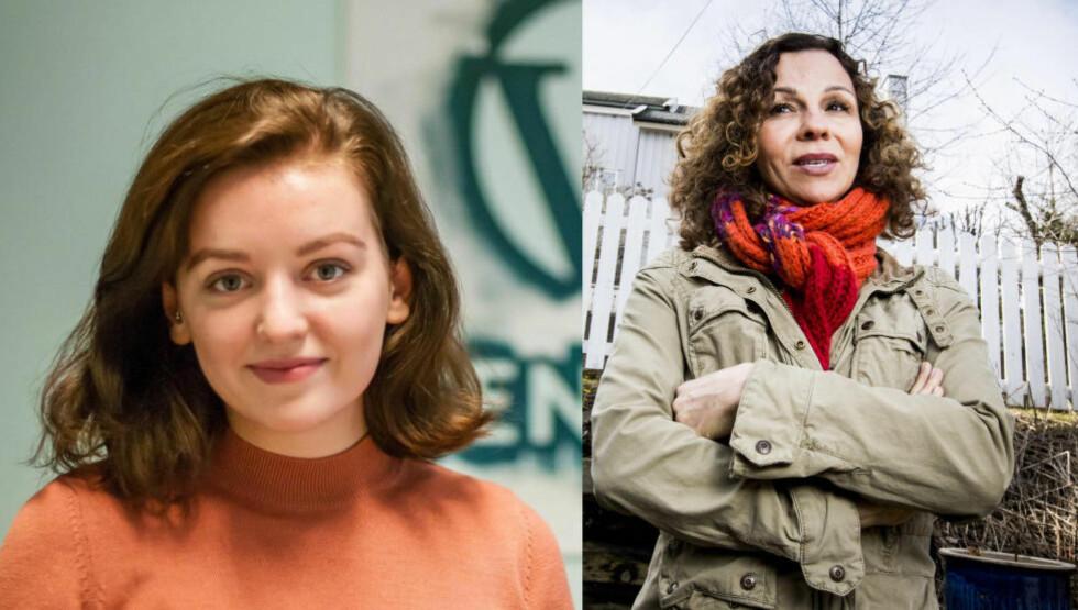 <strong>PÅ PAROLEMØTE:</strong> Både Anna Dåsnes (17) og Kari Jaquesson (53) var på møte i 8. mars-komiteen i Oslo for å bestemme årets paroler. Foto: Liv Aarberg og Halvor Solheim Njerve