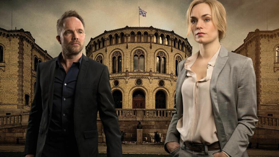 OVER FOR DENNE GANG: Andre sesong av konspirasjonsthrillerserien «Mammon» sluttet spektakulært. Foto: NRK