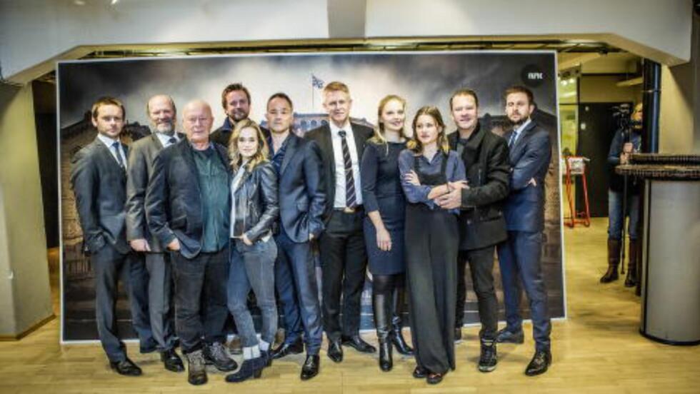 SKUESPILLERE: Her er seriens skuespillere på pressevisning på Filmens Hus. Foto: Christian Roth Christensen / Dagbladet