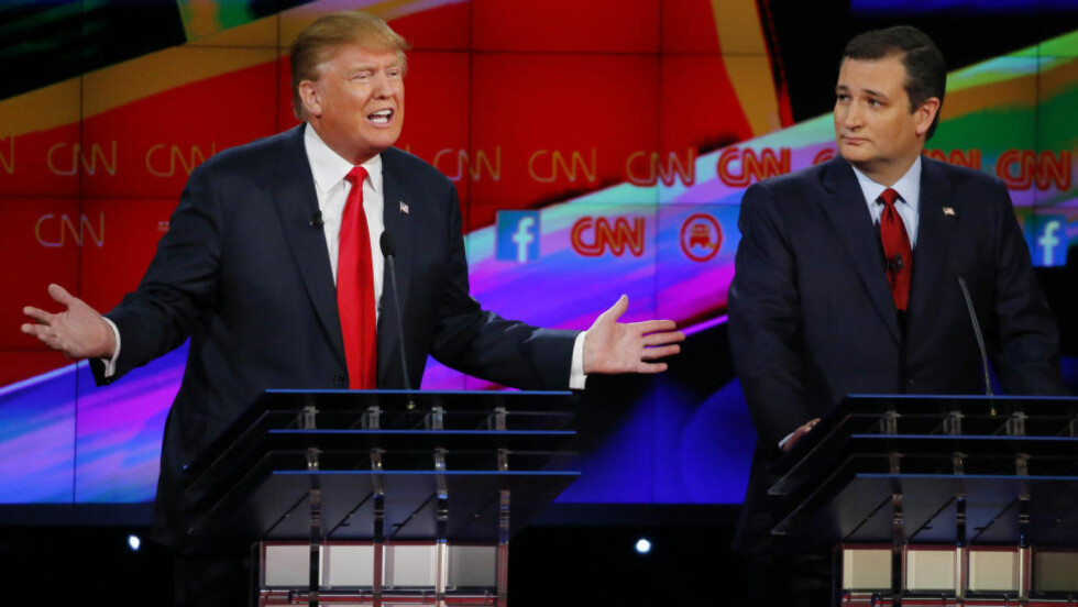 RIVALER: Donald Trump og Ted Cruz. Foto: REUTERS / Mike Blake / NTB scanpix