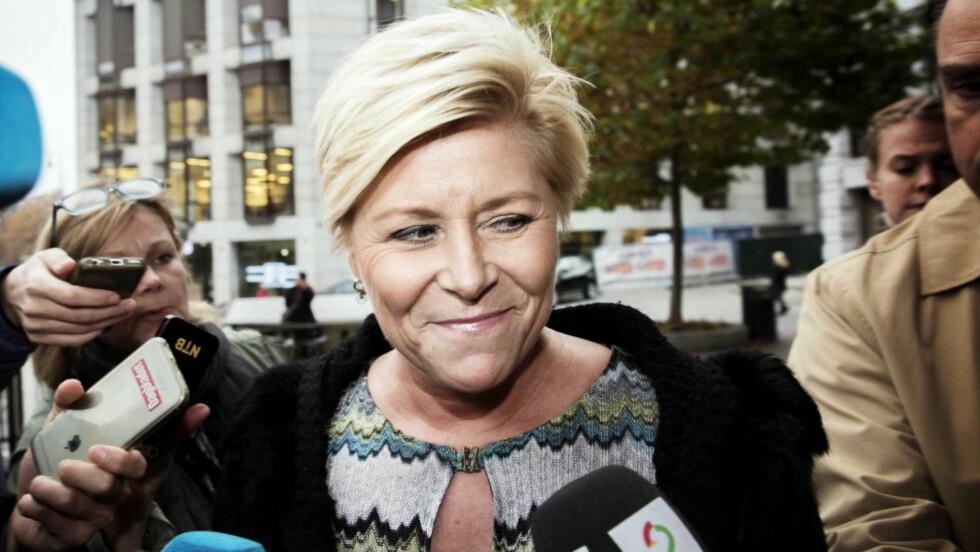 KAN SMILE: Siv Jensen og Frp er tilbake i medvind og scorer bedre på Dagbladets nyeste partibarometer enn partiet har gjort siden før valget i 2013 NINA HANSEN / DAGBLADET