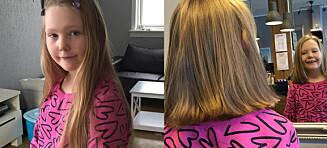 Leonora (8) klipte bort nesten alt håret så kreftsyke barn kunne få det