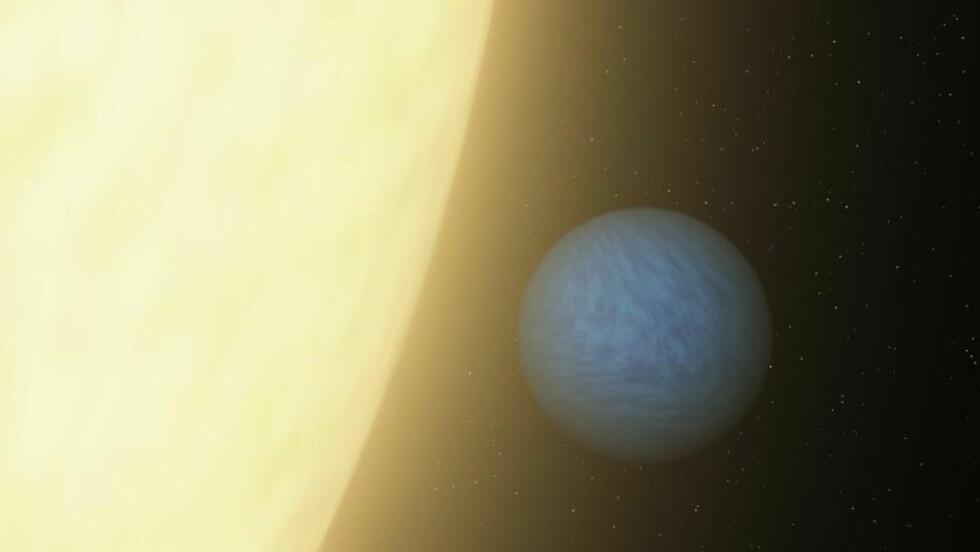 SUPERJORD: 55 Cancri E ble oppdaget i 2004. Nå mener romforskere å ha funnet atmosfære på planeten. Foto: NASA/ESA/SCANPIX