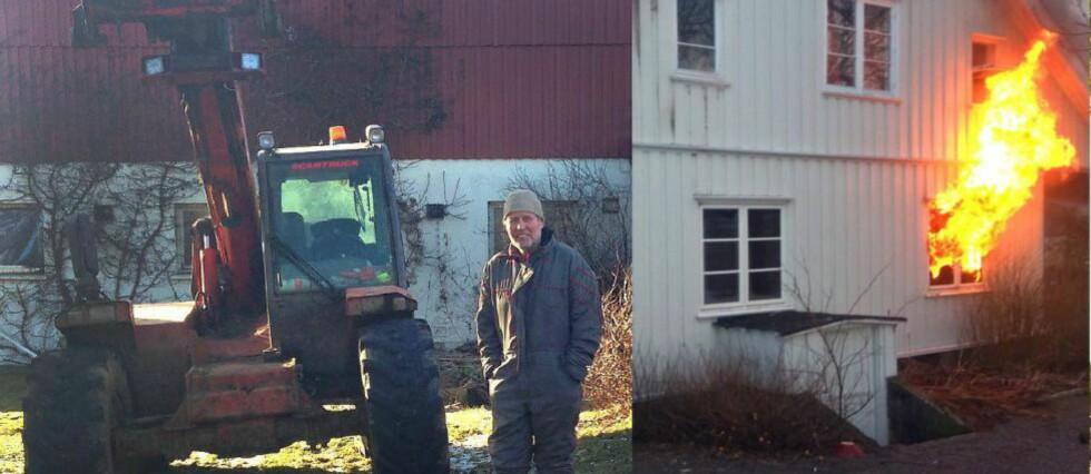 REDNINGSMANN:  Terje Sviland reddet to ut av sønnens våningshus på Ramnes i Vestfold. Foto: Brannvesenet i Vestfold/Kenneth Stensrud