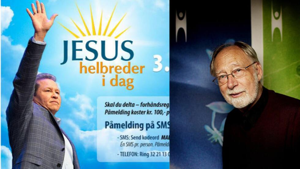KRITISK: Levi Fragell reagerer på det han mener er en framvekst av amerikanske forkynnere, og en radikalisering av kristne miljøer i Norge. MONTASJE:  TV Visjon Norge (annonse)/Dagbladet.