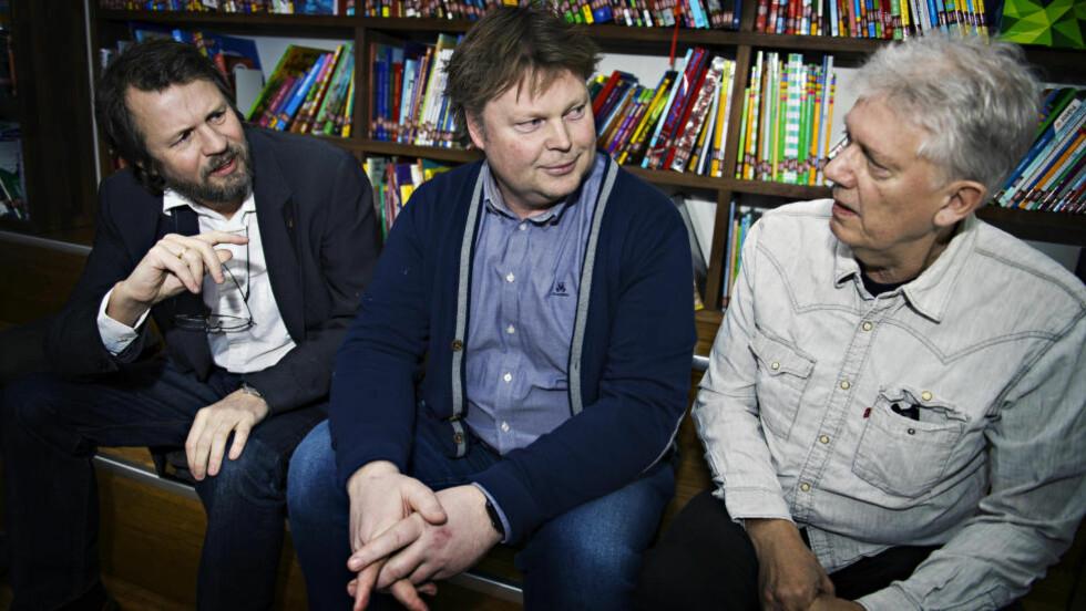 SKRIVER BARNEBØKER: Fra venstre Tom Egeland, Jørn Lier Horst og Chris Tvedt skriver alle barnebøker ved siden av krimforfatterskapet. Foto: Arne V. Hoem