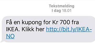 Advarer mot falsk Ikea-melding