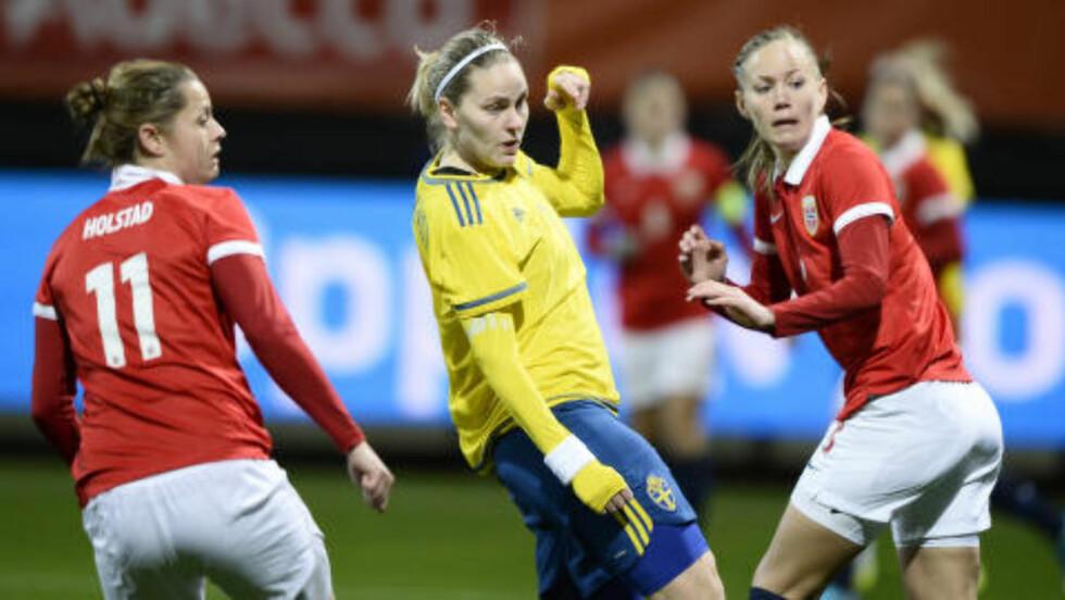 SLITER: Norge slet mot Sverige i 1. omgang. Foto: Maja Suslin / TT /