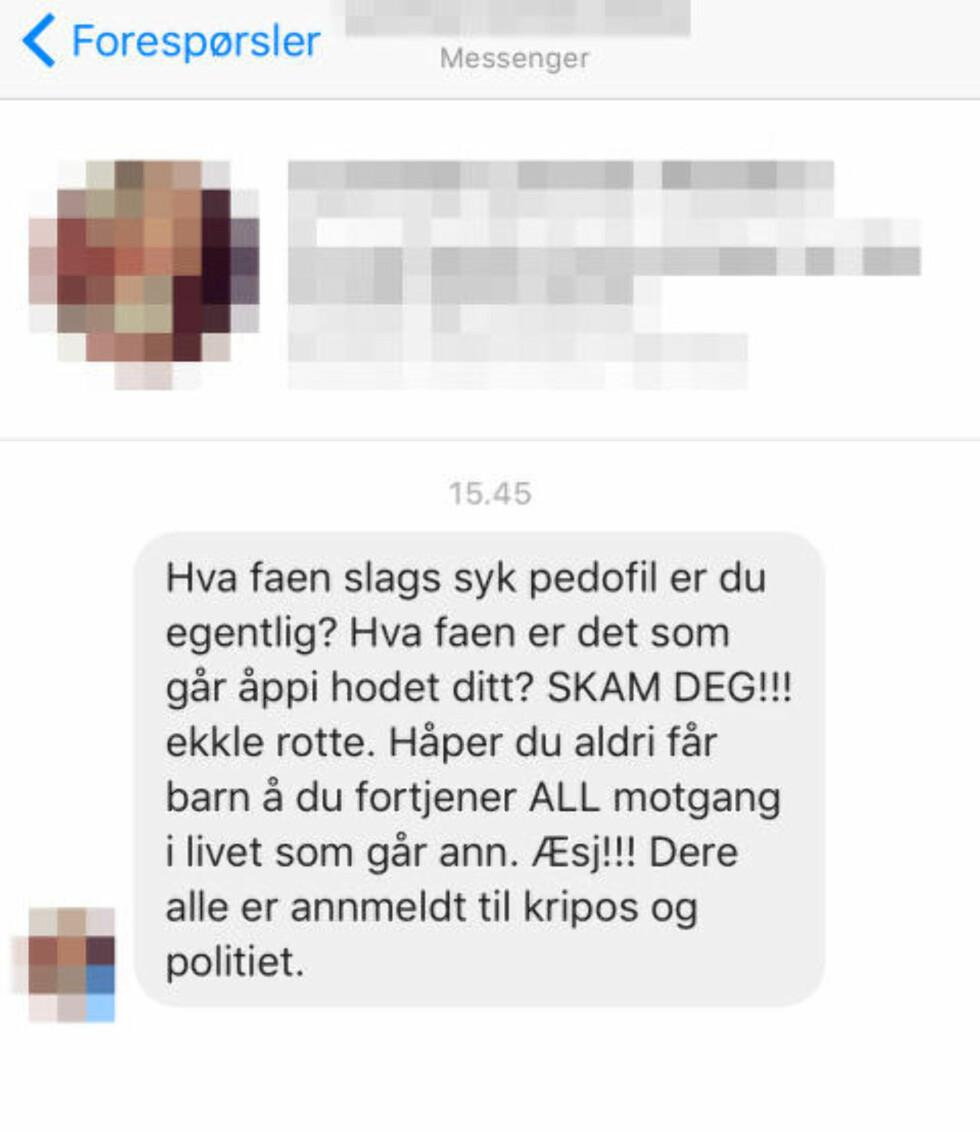 SMS-TRUSSEL:  Mange har den siste uka reagert kraftig på vitsene som ble postet på Mannegruppa. Og flere av gruppas medlemmer skal ha mottatt grove trusler. Her er en av dem. Foto: Skjermdump