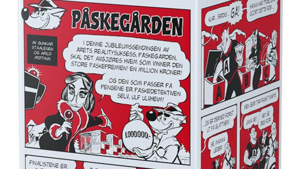 MELKEKRIM: Årets krimgåte på melkekartongen heter «Påskegården». Foto: Tine