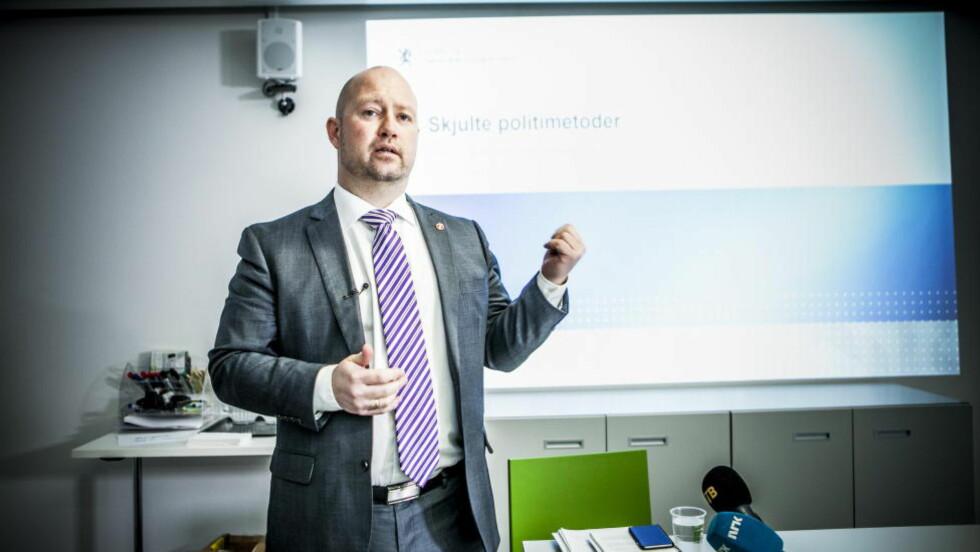 NYE POLITIMETODER: Justisminister Anders Anundsen kom i dag med sine nye forslag til nye politimetoder for bekjempelse av alvorlig kriminalitet.  Foto: Christian Roth Christensen / Dagbladet