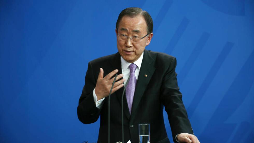 TAR GREP: FNs generalsekretær Ban Ki-moon vil nå kunne trekke ut alle militær- eller politienheter som jobber for FN dersom det finnes «troverdig bevis på utstrakt eller systematisk seksuelt misbruk eller overgrep». Foto: NTB scanpix