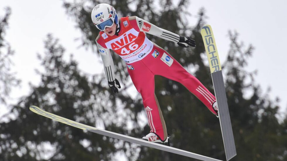 Norway's Johann Andre Forfang competes during the first round of the Ski Jumping World Cup in Titisee-Neustadt, southern Germany on March 12, 2016. / AFP PHOTO / dpa / Patrick Seeger / Germany OUT