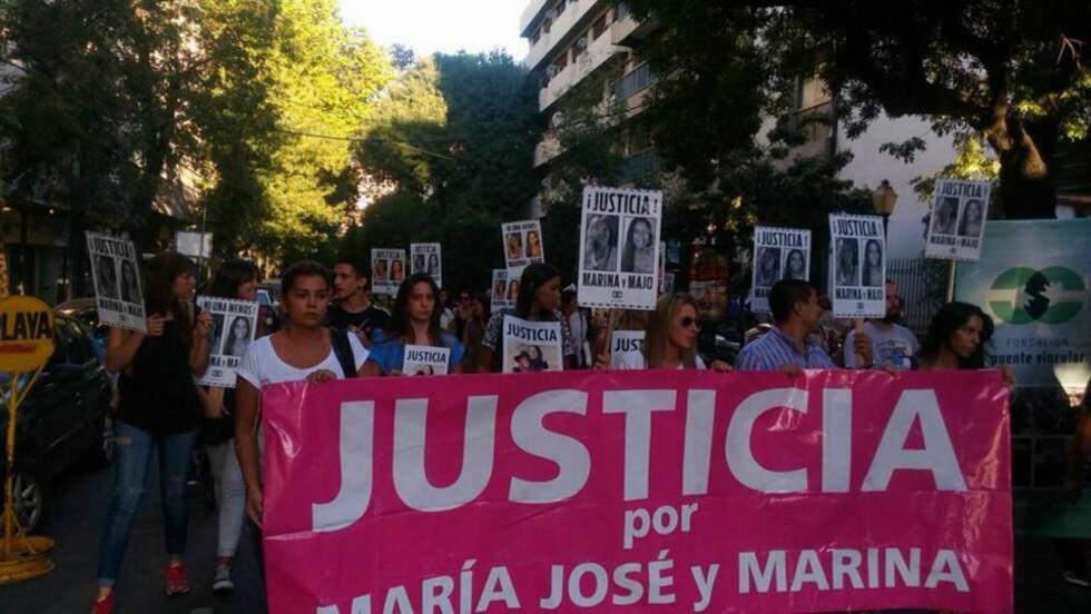 PROTEST: I Argentina ble drapet på de to kvinnene markert på kvinnedagen. FOTO: Fundación Puente Vincular