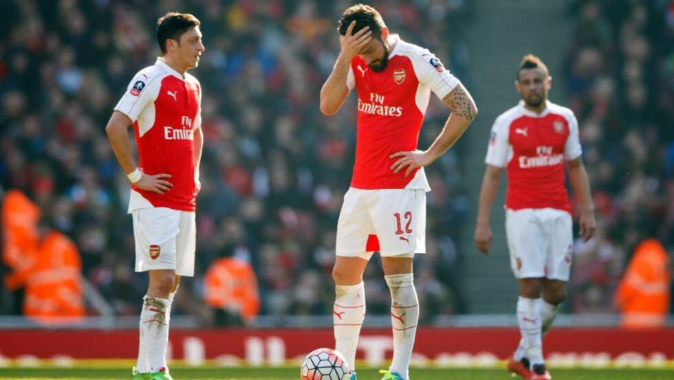 MISTET HODET: Arsenal-spillerne var klart best, men «sovnet». Det kostet dem en semifinalebillett. Foto: Ben Queenborough/BPI/REX/Shutterstock