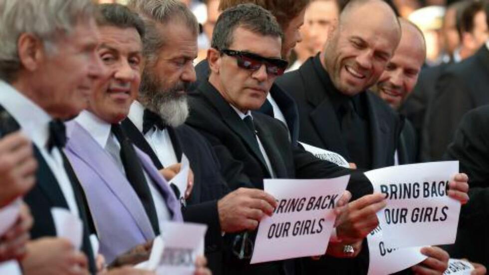 STJERNEGALLERI: Harrison Ford, Sylvester Stallone, Mel Gibson, Antonio Banderas, Kellan Lutz og Randy Couture under Cannes-festivalen 2014. Foto: Alberto Pizzoli/AFP/Scanpix
