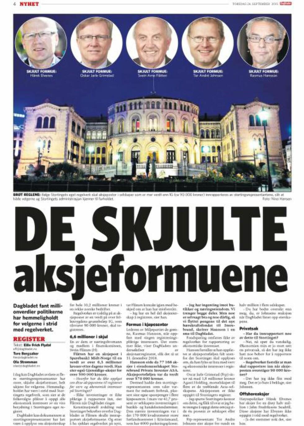 I FJOR: Forslaget til innstramninger kom etter flere avsløringer i Dagbladet. Faksimile 24.09.2015