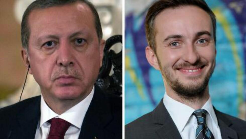 <strong>FULL STRID:</strong> Jan Böhmermann (t.h.) er et kjent ansikt i Tyskland og leder talkshowet «Neo Magazin Royale». I slutten av mars benyttet han seg friskt av ytringsfriheten, og kruttet rettet han mot den svært hårsåre presidenten av Tyrkia, Recep Tayyip Erdogan (t.v.). Foto: AFP