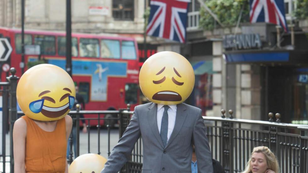 ÅTTE AV TI BRITER BRUKER EMOJIS: En studie utført av britiske TalkTalk Mobile, viser at emoji-symbolene blir tatt i bruk i et raskere tempo enn noe annet språk i historien. Foto: NTB SCANPIX