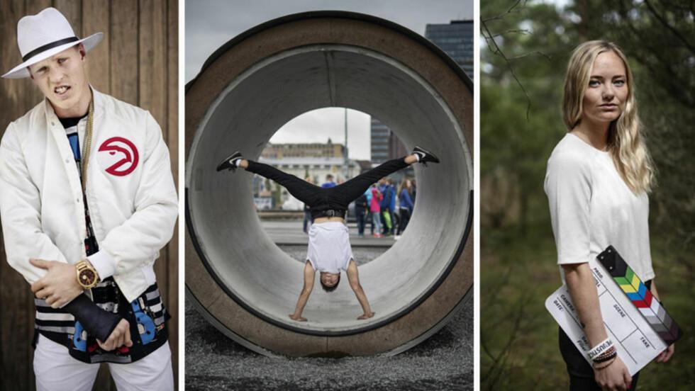 FOTOGRAFEN, DANSEREN OG REGISSØREN: Olav Stubberud (23,f.v.) har skapt seg en karrire som fotograf, Bao Andre Nguyen (25) har dansen som sin lidenskap, mens Emile K. Bech har bestemt seg for at hun skal jobbe med film, og at en plan B er helt uaktuelt. Foto: Benjamin A. Ward