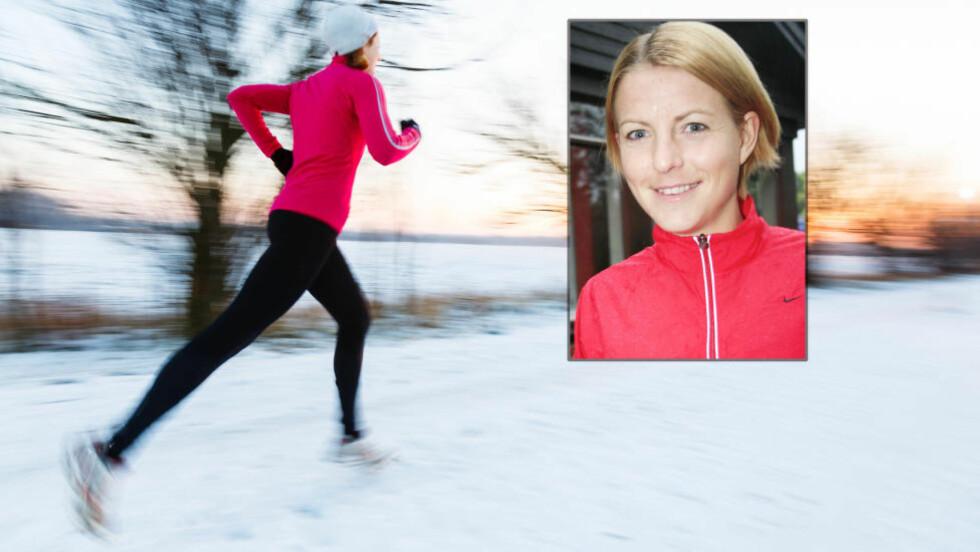 IKKE KLE DEG FOR VARMT: Susannne Wigene er ikke lenger toppidrettsutøver, men tviholder på vanen om å løpe ute året rundt. Det gjelder bare å kle og sko seg rett. Foto: NTB Scanpix