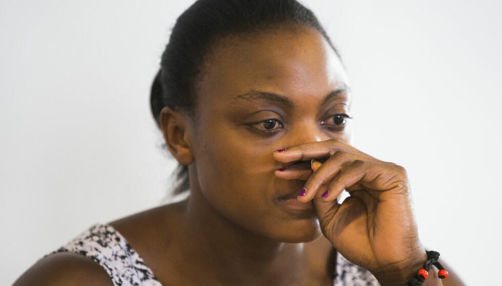 TESTET POSITIVT: Vektløfteren Ruth Kasirye under pressekonfernase etter å ha  testet positivt på stoffet meldonium.  Foto: Berit Roald / NTB scanpix