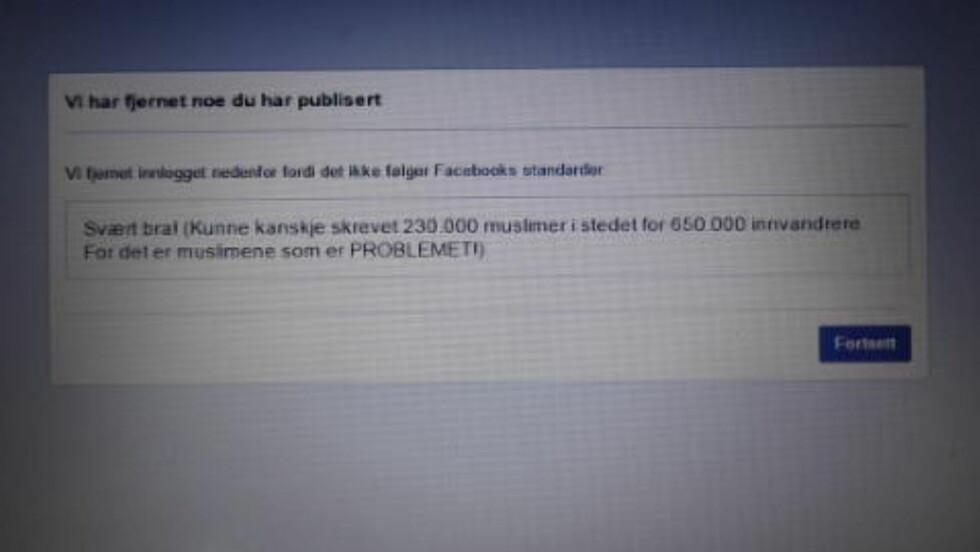 FIKK BESKJED: Max Hermansen hevder han fikk denne beskjeden fra Facebook fredag kveld. Foto: Skjermdump
