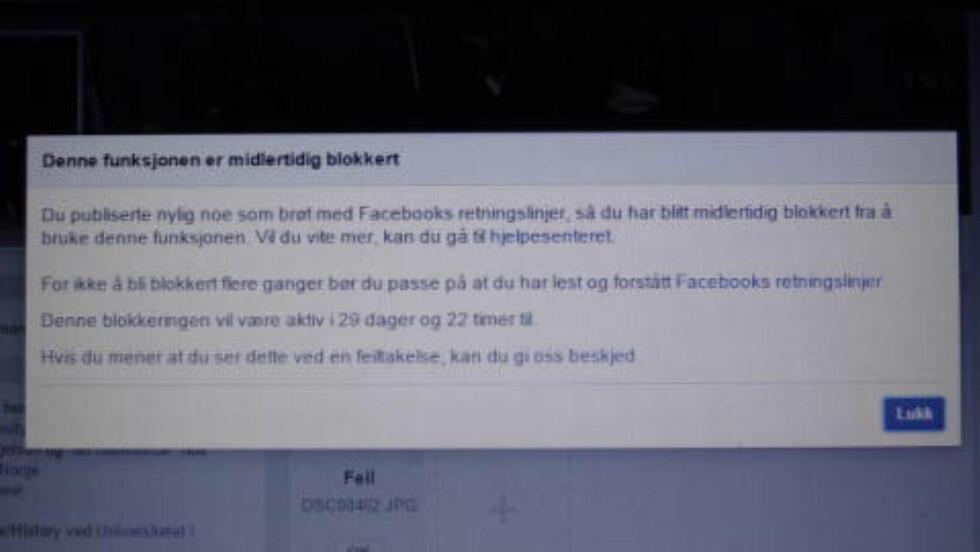 30 DAGER: Denne skjermdumpen viser at Hermansen er blokkert fra aktivitet på Facebook i 30 dager. Foto: Skjermdump