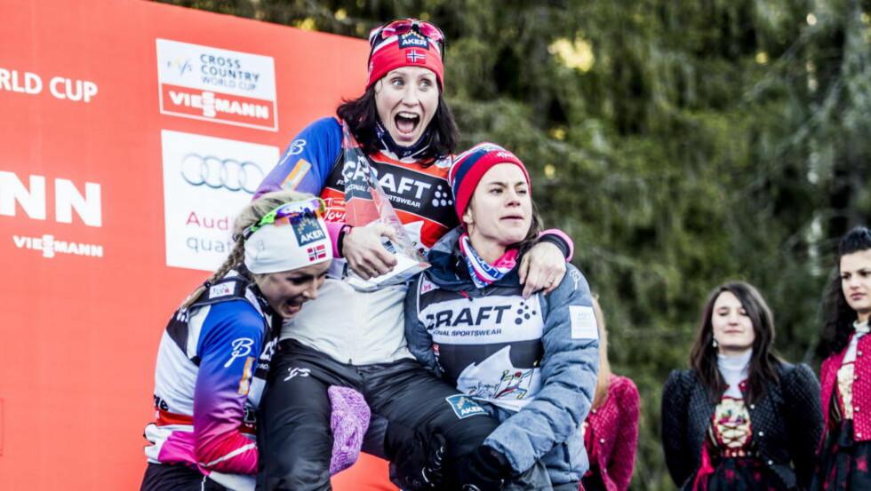 ENDELIG: Marit Bjørgen hadde alt - unntatt en seier i Tour de Ski. Sist vinter falt den på plass også. Sammen med et par nye VM-gull og nok en sammenlagtseier i verdenscupen. Foto: Thomas Rasmus Skaug