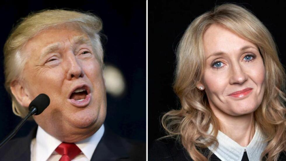 REAKSJONER:  Harry Potter-forfatter J.K. Rowling gikk ut mot sammenlikningen av Voldemort med Donald Trump. I Voldemorts favør. Foto: NTB Scanpix