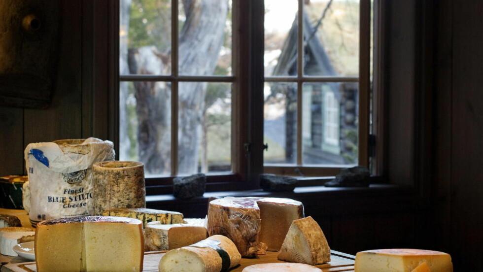 OSTEBORDET:  På Vianvang er det rikholdige ostebordet en viktig del av matopplevelsen, og her står et stort utvalg av spennende norske oster sammen med europeiske klassikere. Foto: METTE MØLLER