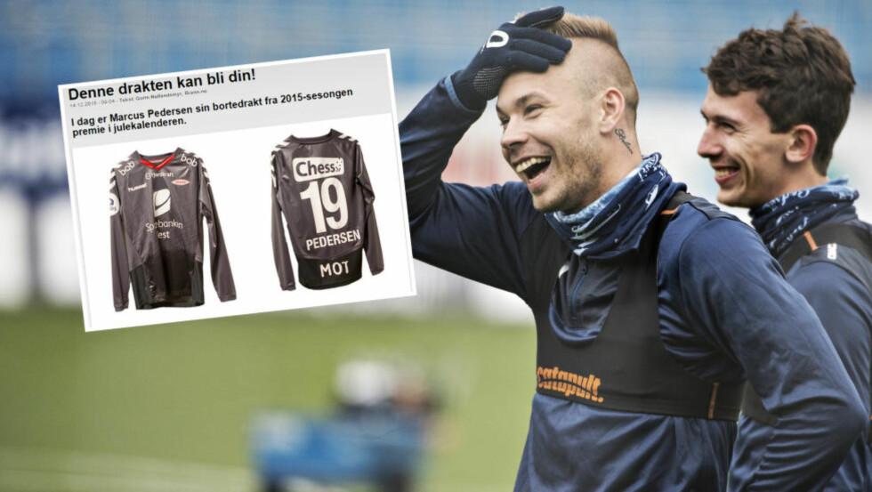 DRAKTPREMIE: Brann-fansen spør seg hvorfor klubben har Marcus Pedersens bortedrakt som premie - siden han ikke spiller i klubben lenger. Foto: NTB Scanpix