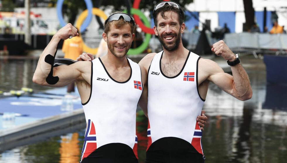 BRONSE: Kristoffer Brun og Are Strandli sørget for norsk OL-medalje i lettvekt dobbelsculler Rio de Janeiro. Foto: AP Photo/Andre Penner